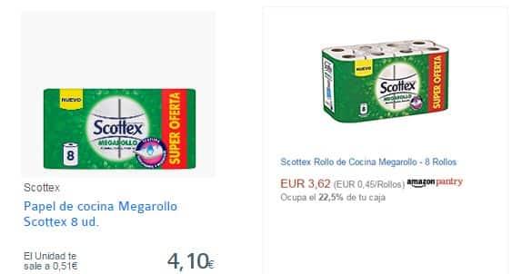 Comparativa precios supermercado online papel de cocina
