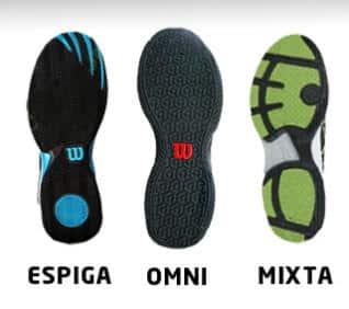 Tipos de suelas en las zapatillas para padel