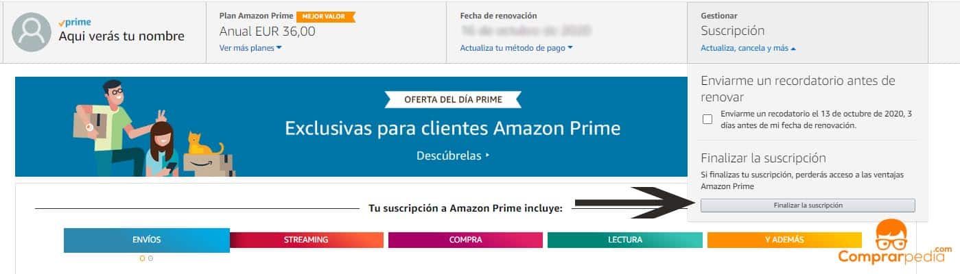 Darse de baja en Amazon Prime fácil