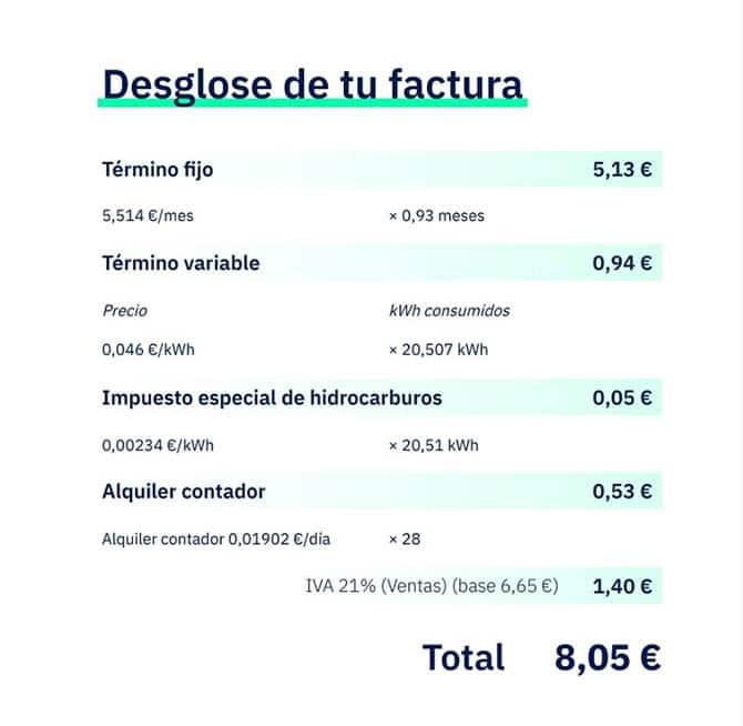Factura de gas de Lucera
