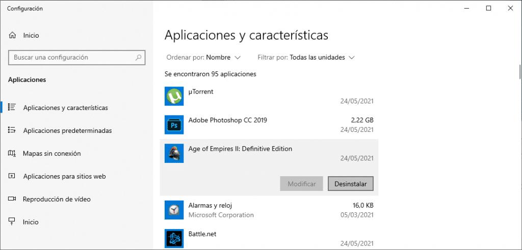 Agregar o quitar programas de Windows 10